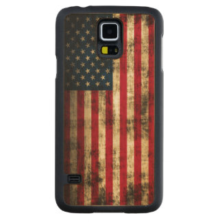Vintage Grunge American Flag Carved Maple Galaxy S5 Slim Case