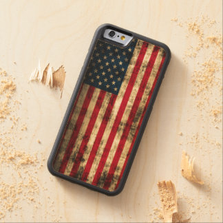 Vintage Grunge American Flag Carved® Maple iPhone 6 Bumper Case