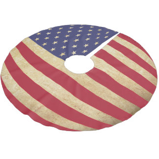 Vintage Grunge American Flag globe-shaped Brushed Polyester Tree Skirt