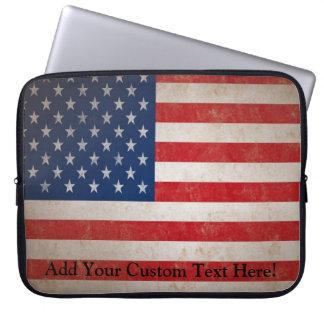 Vintage Grunge American Flag Patriotic Design Laptop Sleeve