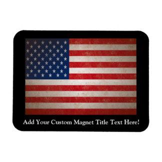 Vintage Grunge American Flag Patriotic Design Magnet