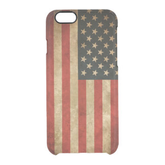 Vintage Grunge American Flag Pattern USA Patriotic Uncommon Clearly™ Deflector iPhone 6 Case