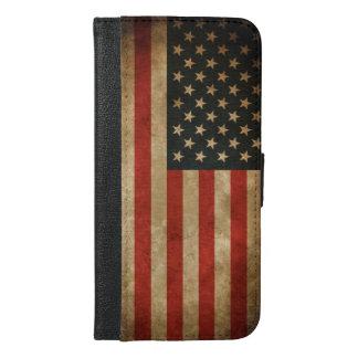 Vintage Grunge American Flag - USA Patriotic iPhone 6/6s Plus Wallet Case