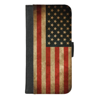Vintage Grunge American Flag - USA Patriotic iPhone 8/7 Plus Wallet Case