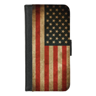 Vintage Grunge American Flag - USA Patriotic iPhone 8/7 Wallet Case