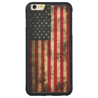 Vintage Grunge American Flag Carved® Maple iPhone 6 Plus Bumper