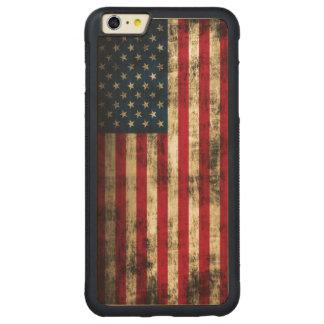 Vintage Grunge American Flag Carved® Maple iPhone 6 Plus Bumper