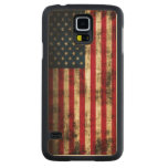 Vintage Grunge American Flag Carved® Maple Galaxy S5 Case