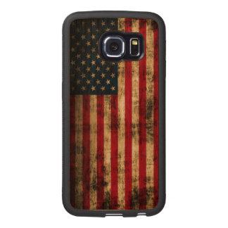Vintage Grunge American Flag Wood Phone Case