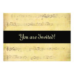 Vintage Grunge Antique Musical Notes Invitations