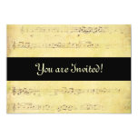 "Vintage Grunge Antique Musical Notes Invitations 5"" X 7"" Invitation Card"