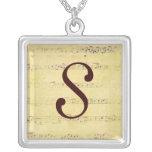 Vintage Grunge Antique Musical Notes Monogram Neck Jewelry