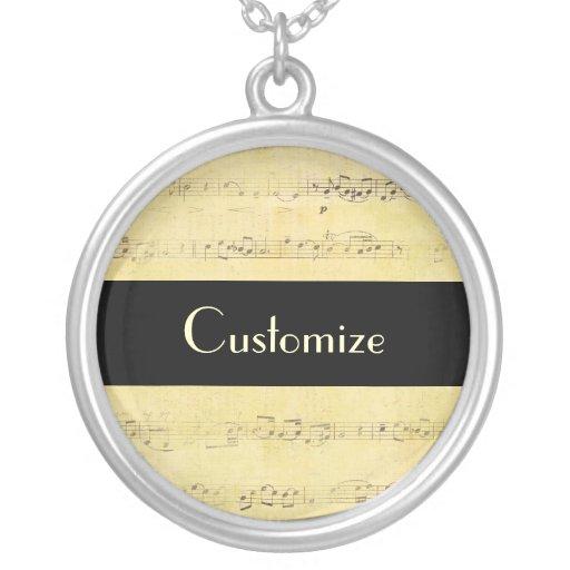 Vintage Grunge Antique Musical Notes Necklace