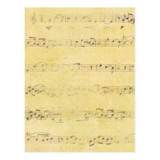 Vintage Grunge Antique Musical Notes Post Cards