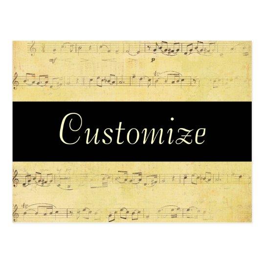 Vintage Grunge Antique Musical Notes Postcard