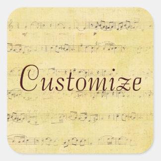 Vintage Grunge Antique Musical Notes Square Sticker