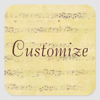 Vintage Grunge Antique Musical Notes Square Stickers