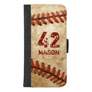 Vintage Grunge Baseball Personalized Number Name iPhone 8/7 Plus Wallet Case