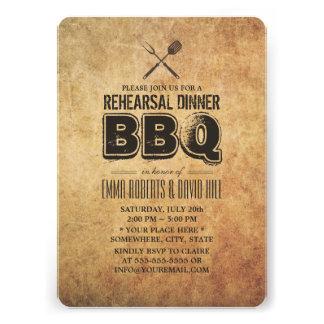 Vintage Grunge BBQ Rehearsal Dinner Invitations