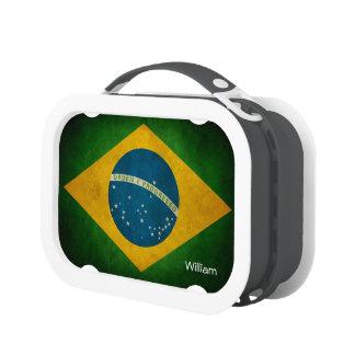 Vintage Grunge Brazil Flag Bandeira do Brasil Lunch Box