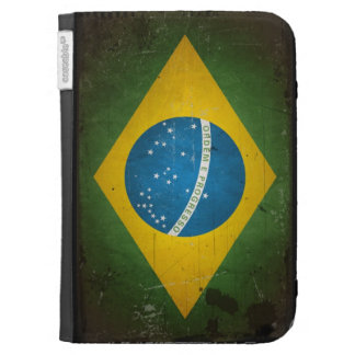 Vintage Grunge Brazil Flag Kindle Folio Cases