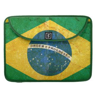 Vintage Grunge Brazil Flag Sleeve For MacBook Pro