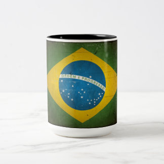 Vintage Grunge Brazil Flag Two-Tone Coffee Mug
