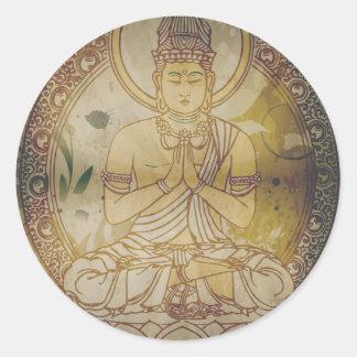 Vintage Grunge Buddha Classic Round Sticker
