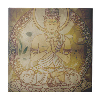 Vintage Grunge Buddha Small Square Tile