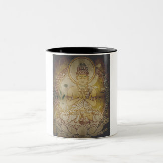 Vintage Grunge Buddha Two-Tone Coffee Mug