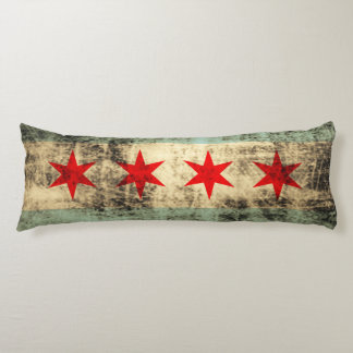 Vintage Grunge Chicago Flag Body Pillow