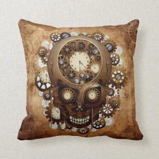 Vintage Grunge Copper Steampunk Skull Throw Pillow