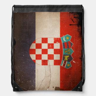 Vintage Grunge Croatia Flag Drawstring Backpack