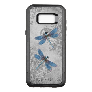 Vintage Grunge Damask and Dragonflies with Name OtterBox Commuter Samsung Galaxy S8  Case
