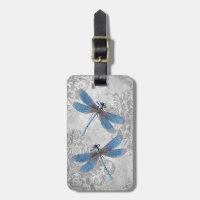 Vintage Grunge Damask Dragonflies Bag Tag