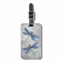 Vintage Grunge Damask Dragonflies Bag Tag