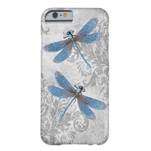Vintage Grunge Damask Dragonflies Phone Case