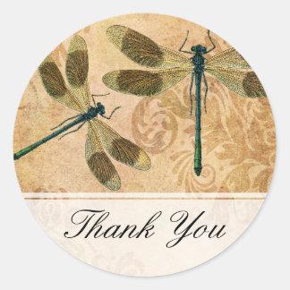 Vintage Grunge Damask Dragonflies Classic Round Sticker