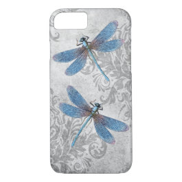 Vintage Grunge Damask Dragonflies iPhone 7 Case