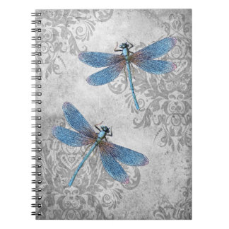 Vintage Grunge Damask Dragonflies Notebook