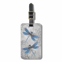 Vintage Grunge Damask Dragonflies Tag For Luggage