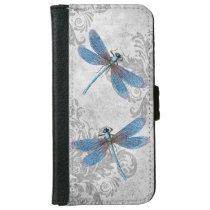Vintage Grunge Damask Dragonflies Wallet Phone Case For iPhone 6/6s