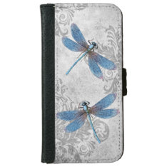 Vintage Grunge Damask Dragonflies Wallet Phone Case For iPhone 6/6s at Zazzle