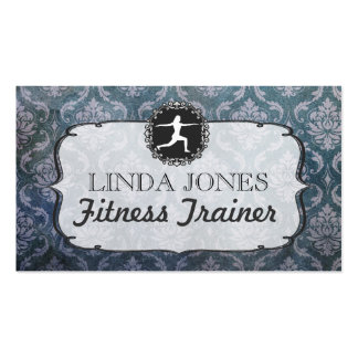 Vintage Grunge Damask Gym Fitness Trainer Cards Double-Sided Standard Business Cards (Pack Of 100)