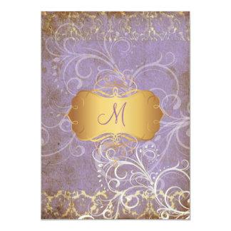 Vintage grunge damask/monogram Wedding Invitations