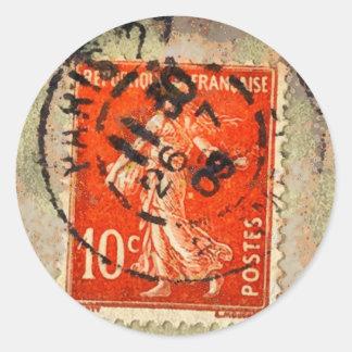 Vintage Grunge Ephemera French Stamp Sticker