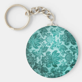 Vintage grunge filigree pattern in teal. keychain