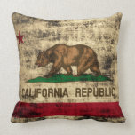 Vintage Grunge Flag of California Republic Throw Pillow