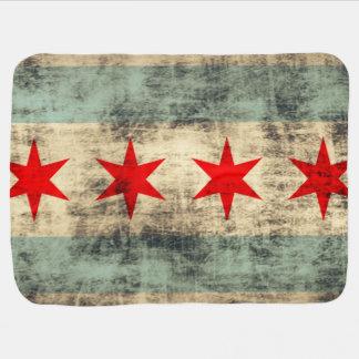 Vintage Grunge Flag of Chicago Baby Blanket