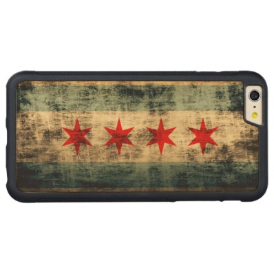 Vintage Grunge Flag of Chicago Carved® Maple iPhone 6 Plus Bumper